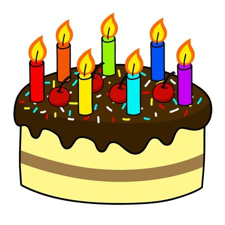 candeline compleanno: Cartoon cake mano Disegno vettoriale Vettoriali