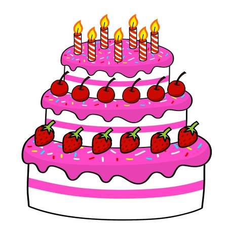 birthday cupcakes: Cartoon cake hand drawing   Vector
