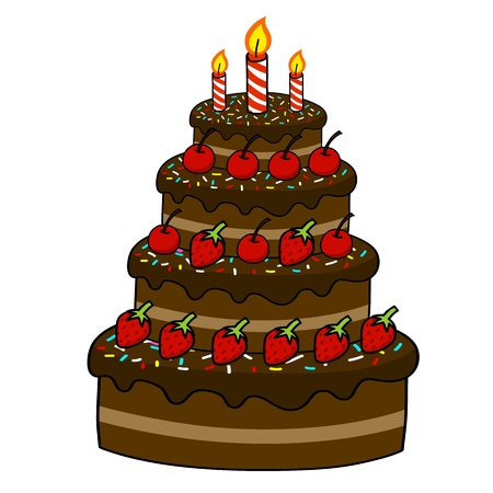 Gâteau de dessin animé dessin à la main vecteur