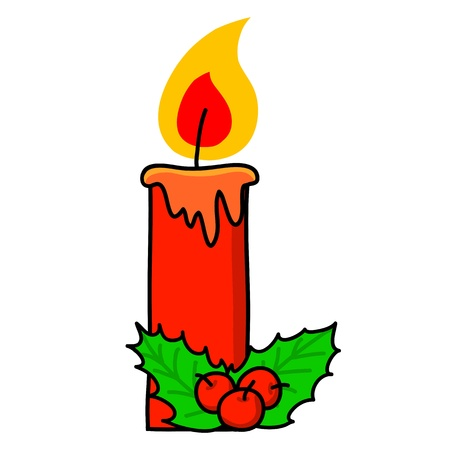 lit candles: Christmas candle cartoon