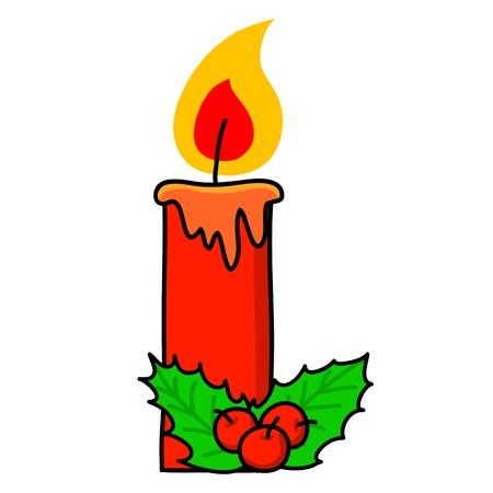 lit candle: Christmas candle cartoon