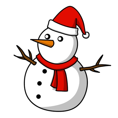 snow cap: Christmas Snowman cartoon