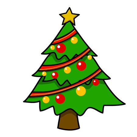 fir tree red: Christmas tree cartoon