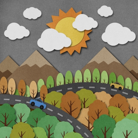 papercraft: Nature view recycled papercraft Background