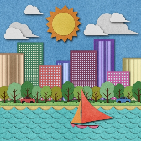 papercraft: City view recycled papercraft Background