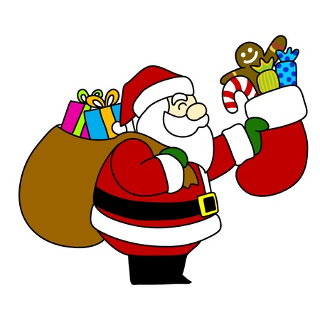 Cartoon Santa Claus hand writing, Stock Vector - 15580025