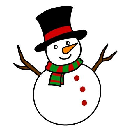 bonhomme de neige: Bonhomme de neige de No�l de bande dessin�e � la main par �crit.
