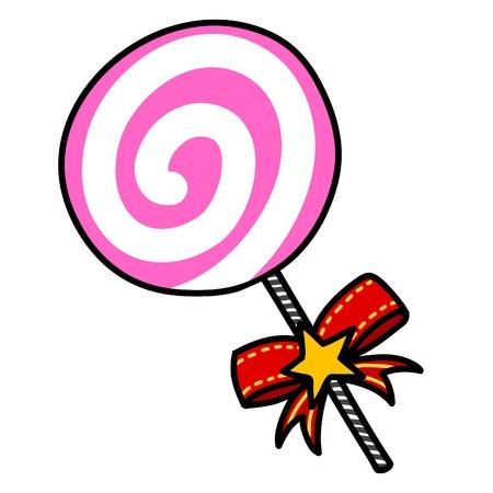 cane sugar: Christmas candy cartoon.
