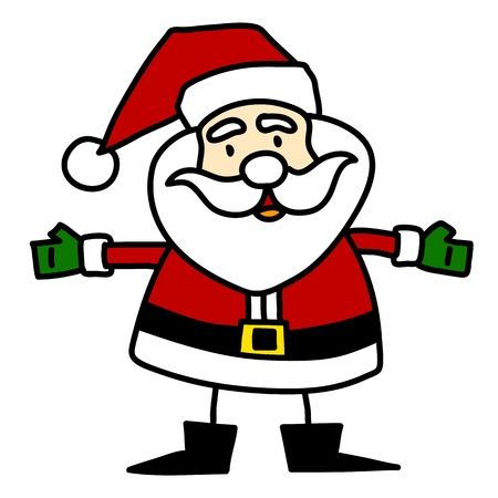 pere noel: Cartoon Santa Claus �crit � la main,