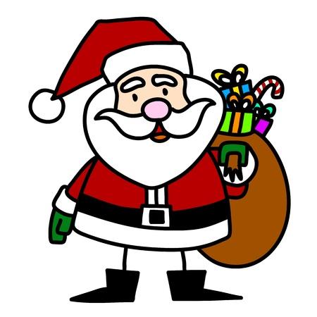 Cartoon Santa Claus hand writing,