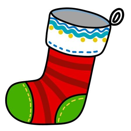 white socks: Christmas sock hand writing cartoon. Illustration