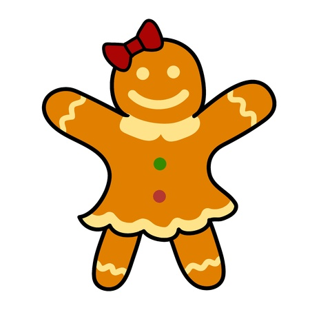 Gingerbread cookies Hand writing cartoon. Vector