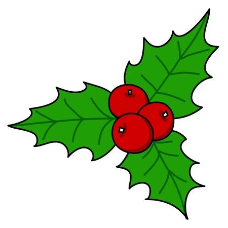 houx: Holly berry Noël de bande dessinée écrite à la main. Illustration