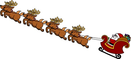 Santas Sleigh hand writing cartoon. Vector