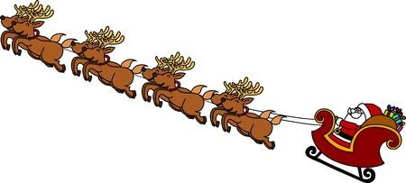 santa sleigh: Santas Sleigh hand writing cartoon.