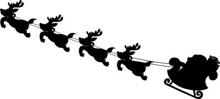 As silhuetas do trenó de Santa entregam desenhos animados da escrita. Ilustración de vector
