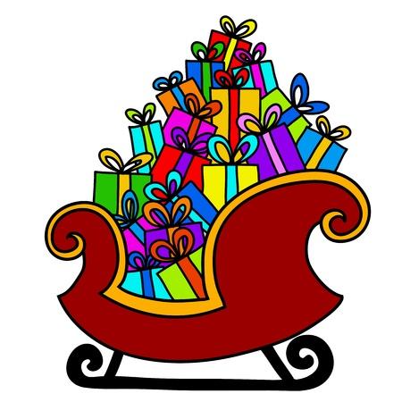 papa noel en trineo: navidad trineo de Pap� Noel con los regalos Vectores