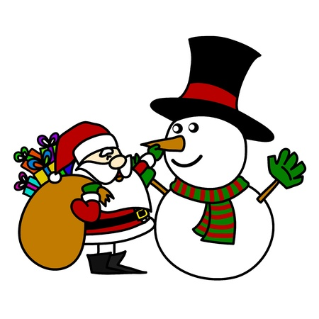 Cartoon Santa Claus and snowman. Stock Vector - 15688498