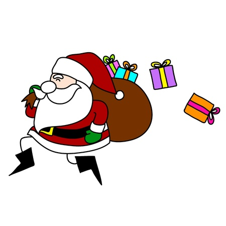 klaus: Cartoon Santa Claus hand writing. Illustration