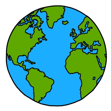 Planet earth ręka pisania cartoon kredyt nasa Ilustracje wektorowe