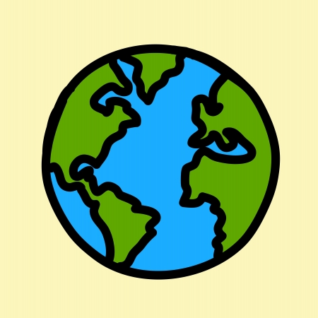 earth in hand: Planet earth hand writing cartoon    credit   nasa  Illustration
