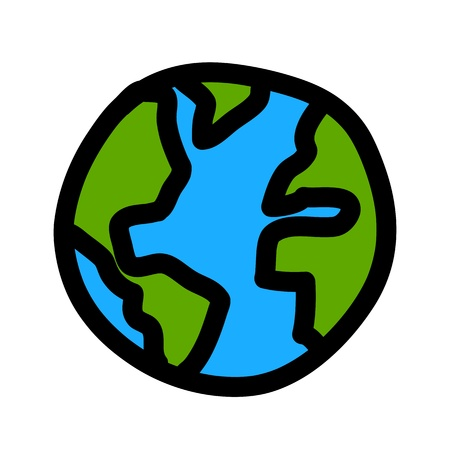 environment geography: Planet earth hand writing cartoon    credit   nasa  Illustration
