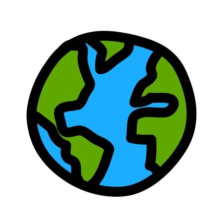 globe earth: Planet earth hand writing cartoon    credit   nasa  Illustration