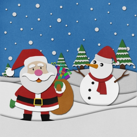 Santa claus recycled papercraft on paper background Stock Photo - 15809968