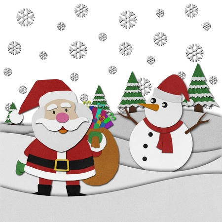 papercraft: Santa claus recycled papercraft on paper background