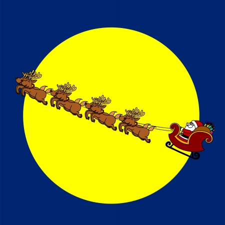 Santa's Sleigh hand writing cartoon. Vector