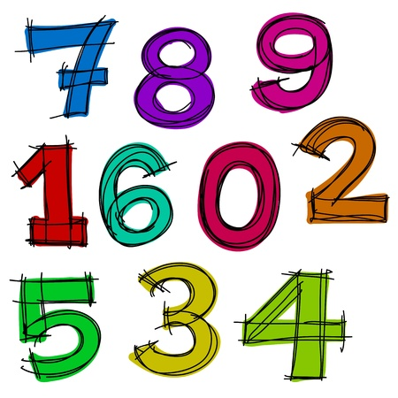 Hand drawn number letters. Vector