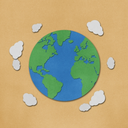 Planet earth  recycled papercraft.  photo