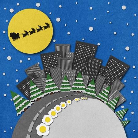papercraft: Santas Sleigh recycled papercraft background.