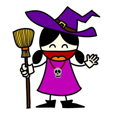 harridan: Halloween character hand writing cartoon.