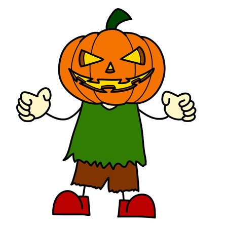 Halloween character hand writing cartoon. Vector