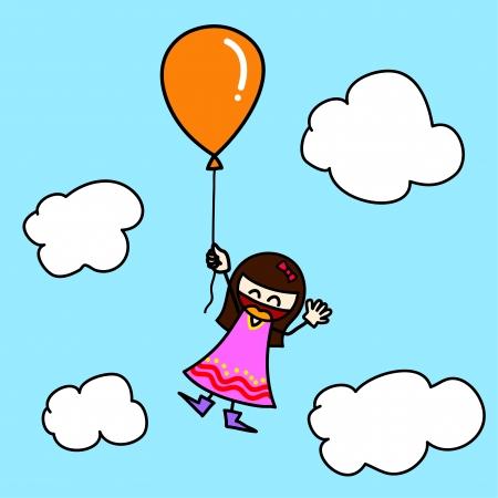 balloon girl: Hand draw charactor cartoon.
