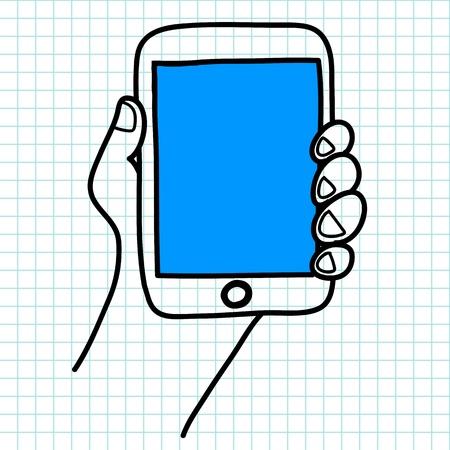 databank: Hand holding a tablet cartoon