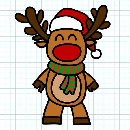 nick: Reindeer hand draw cartoon