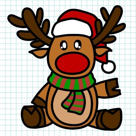 Reindeer hand draw cartoon Vector