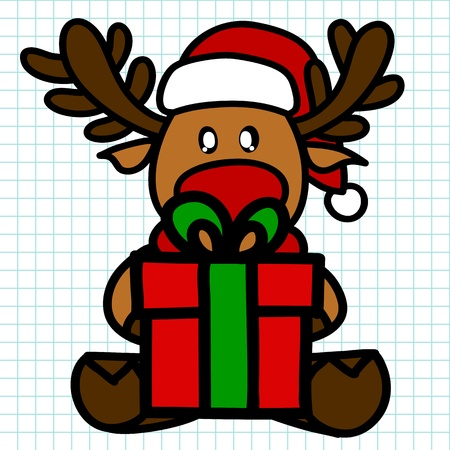 Reindeer hand draw cartoon Vector