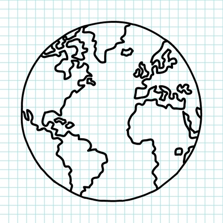 earth in hand: Planeta tierra escritura a mano de dibujos animados Vectores