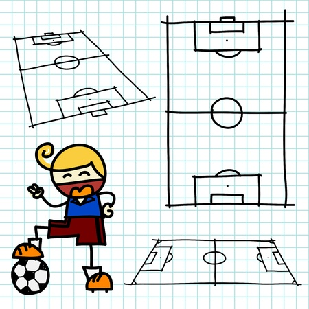 man in field: Hand draw soccer field