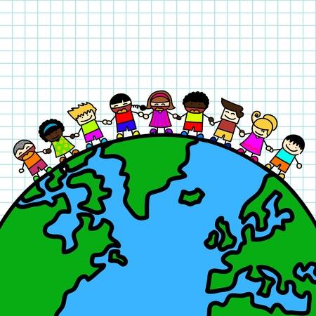 kids holding hands: Kids holding hands the planet earth  Illustration