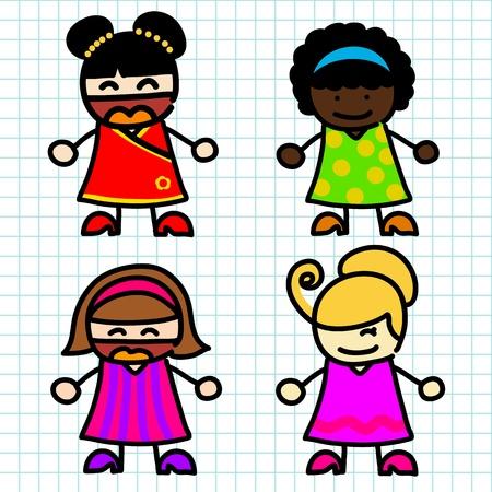kids writing: Happy kids hand writing cartoon
