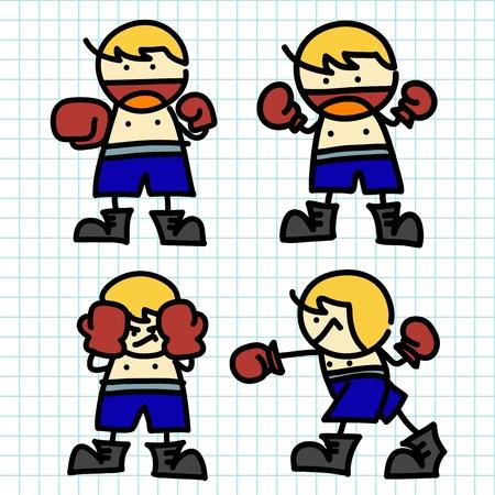 girl fight: Kids hand writing cartoon