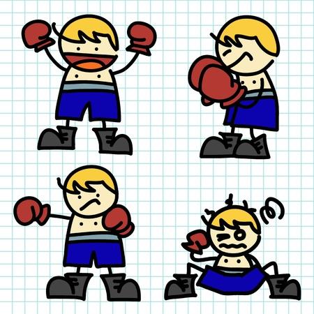 girl fight: Kids hand writing cartoon Illustration
