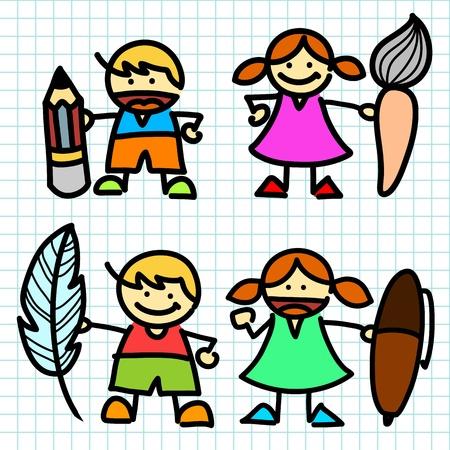 Kids hand writing cartoon