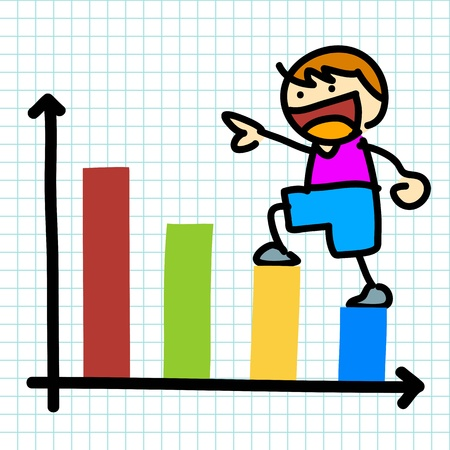 Cartoon charactor and business graph.vector Vector