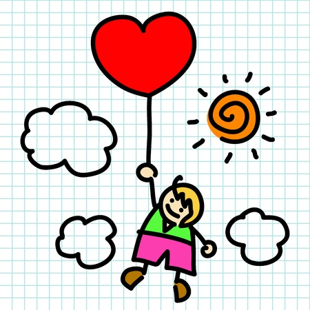 niños escribiendo: Hand draw charactor dibujos animados. Vector