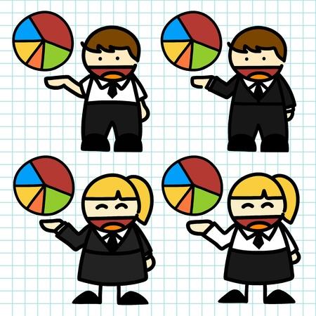 Business man and woman cartoon. vector Stock Vector - 16058432